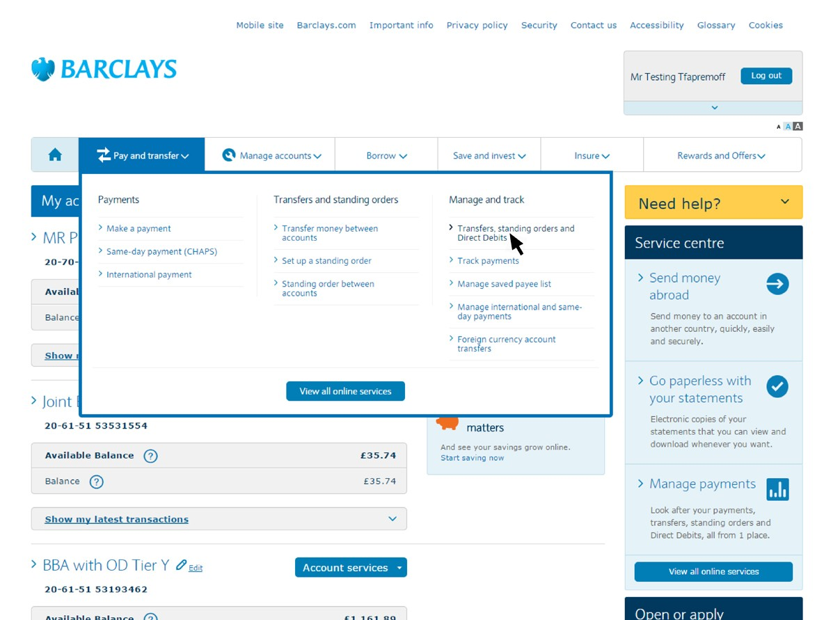 Screenshot of Online Banking screen showing how to cancel a direct debit