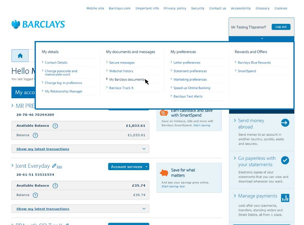 A screenshot of the Online Banking screen showing how to view online statements