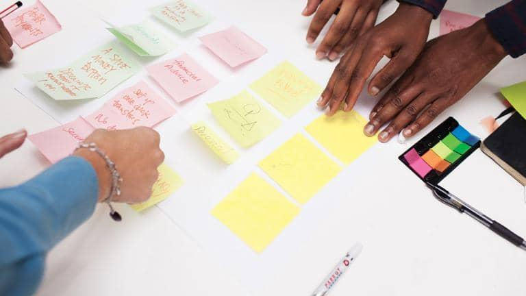 People placing post it notes on a table.