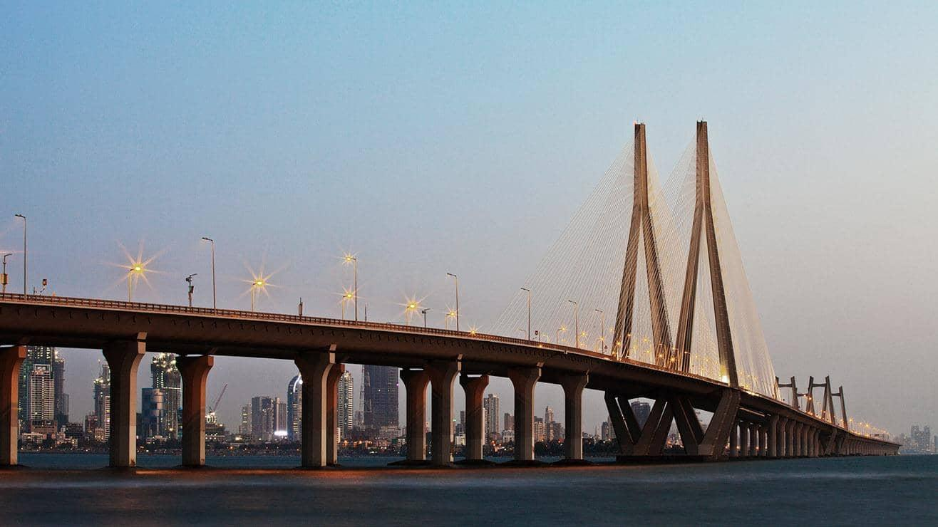 The Bandra–Worli Sea Link bridge in Mumbai, India. The city is visible in the background