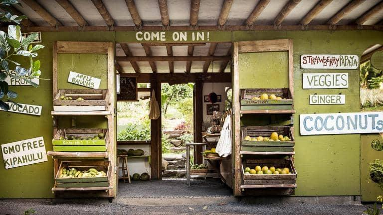 A small fruit shop in an exotic country