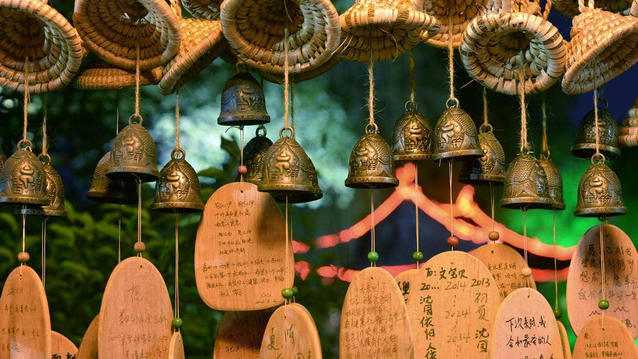 Decorative bells with wooden message tags