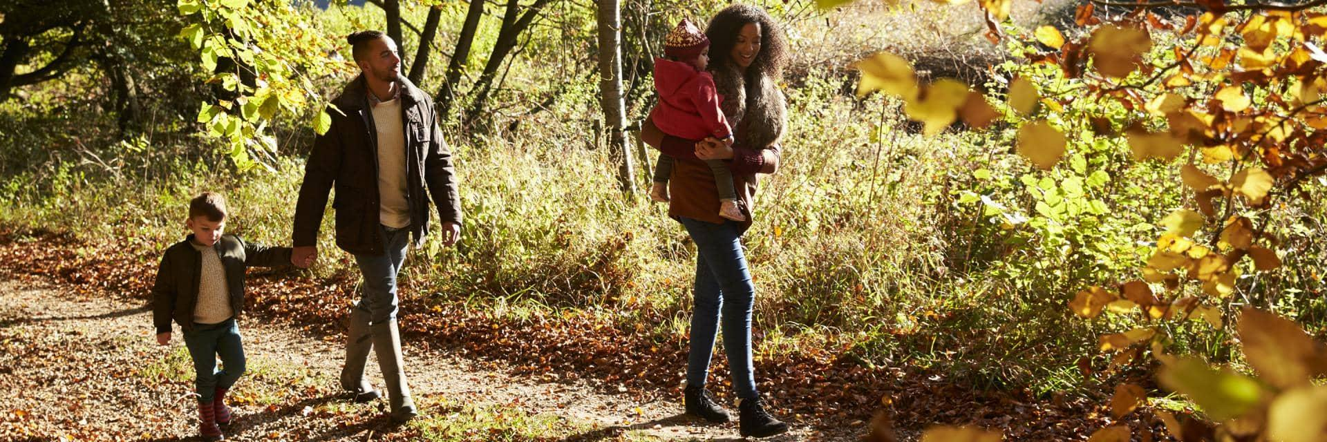 A family with young children take a walk in the woods in autumn