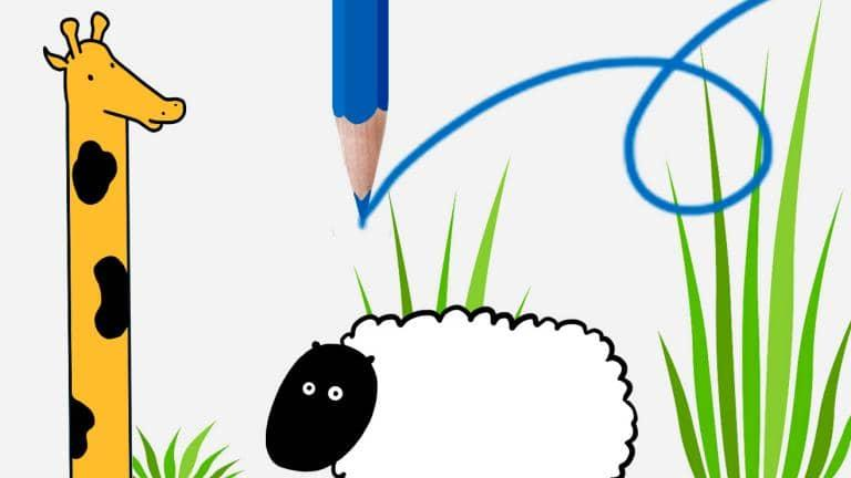 An illustration of a pencil and above a drawing of a sheep and a giraffe