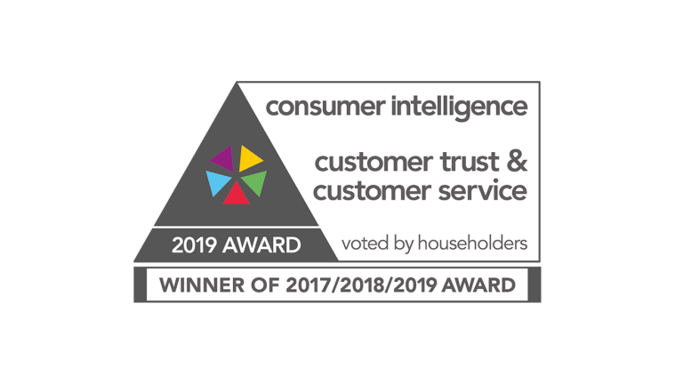Consumer intelligence, customer service and consumer trust award, for 2018. Voted by householders.