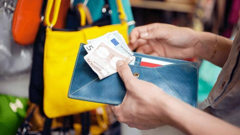 Hands holding open a blue leather purse with cards and Euro notes displayed