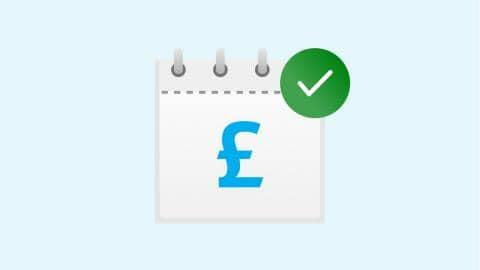 Calendar icon with a pound sign and green tick