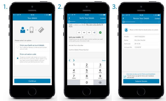 Register for Barclays Mobile Banking - enter an activation code