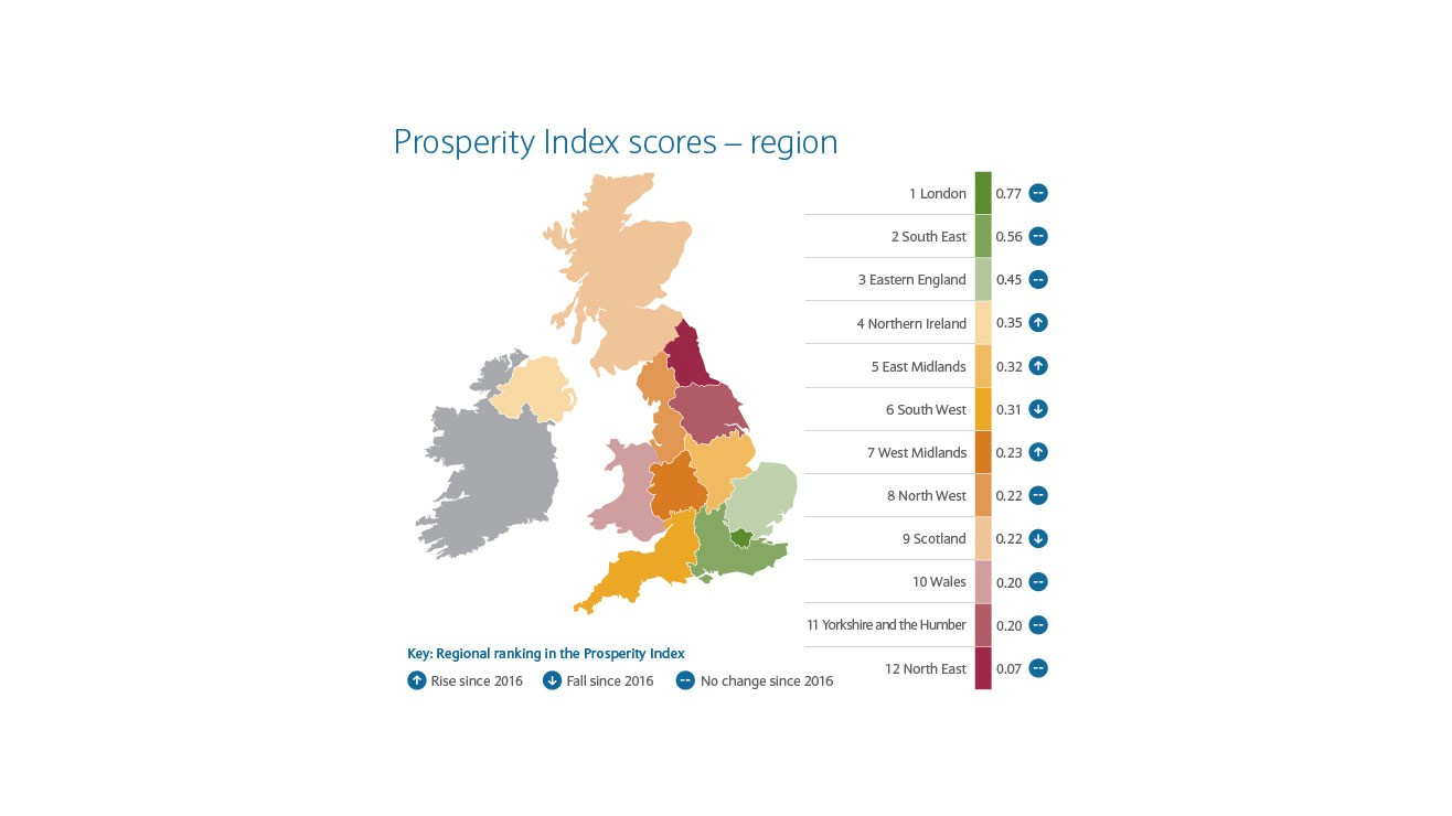 map showing prosperity index scores by region
